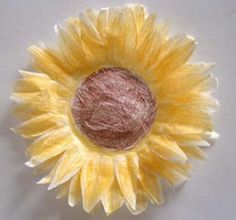 coffee filter sunflowers - finally a use for our large supply of coffee filters in a K-cup home.