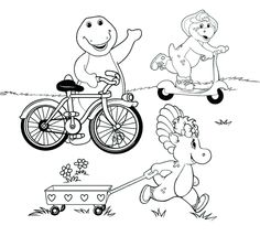 barney bj and baby bop ride bike coloring pages