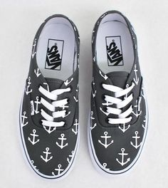 Tendance Basket Femme Custom Hand Painted Sailor Nautical Theme Anchor  Pattern Charcoal Vans Authentic Shoes – Vans Off The Wall – Made To Order  Custom ... 7fa24946f
