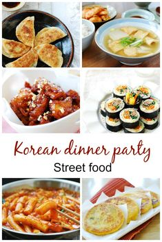 Menus for Korean Dinner Parties. Planning holiday gatherings with family and friends? Here are some Korean dinner party ideas: a small dinner, a more elaborate dinner for a large group, a vegan dinner, and a street food party! Korean Dessert, Korean Appetizers, Korean Kitchen, South Korean Food, Korean Street Food, Korean Dishes, Fast Food, Asian Cooking, Food Trucks