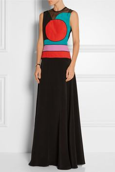 Roksanda | Amias color-block silk-blend maxi dress | NET-A-PORTER.COM