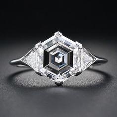 Art Deco 2.91 Carat Hexagon Diamond Platinum Engagement Ring