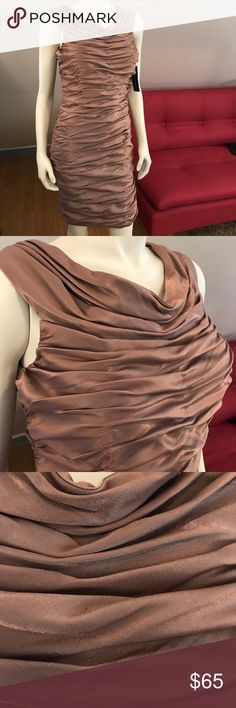 NWT Shimmering Bronze Cocktail Dress Get ready for the holidays!  This is a stunner!  Pics can't do it justice.  Just enough shine to catch some eyes.  Light copper in color. Cachet NY Dresses Midi
