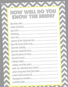 {Special Wednesday} Top 5 Free Printable Bridal Shower Games |another how well do you know the bride :-) @Whitney Clark McKay @Kendra Henseler Ferguson