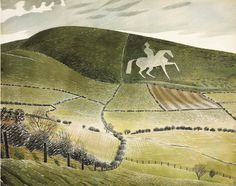 Eric Ravilious -The Osmington White Horse is a hill figure sculpted in 1808 into the limestone Osmington hill just north of Weymouth called the South Dorset Downs. The figure is of King George III, who regularly visited Weymouth, and made it 'the first resort'