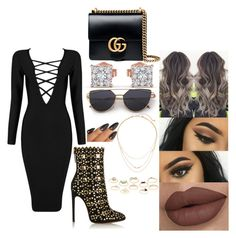 """""""😈😈"""" by msroro12 ❤ liked on Polyvore featuring Posh Girl, Alaïa, Gorjana, Charlotte Russe and Gucci"""