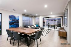 Open plan living and dining providing outstanding connectivity throughout the home. Ventura Homes, Storey Homes, Display Homes, Open Plan Living, House Design, Entertaining, Dining, Table, Furniture