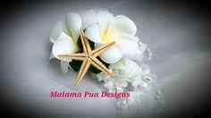 TROPICAL SILK HAIR clip Plumeria & Roses Wedding by MalamaPua #beachwedding #hawaii #maui #bouquet #destinationwedding #bridal