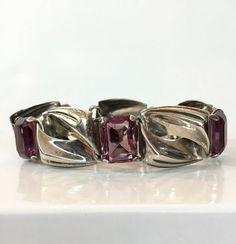 Art Deco en argent Sterling Bracelet verre améthyste Bracelet