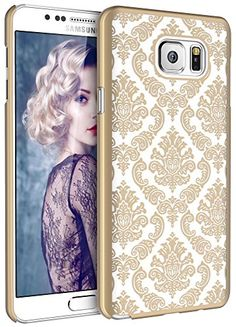 Note 5 Case Galaxy Note 5 Case SGM (TM) Damask Design Pattern Rubber Coating Ultra Slim Fit Hard Hybrid Case Cover for Samsung Galaxy Note 5  SGM (TM) Microfiber Cleaning Cloth (Gold)