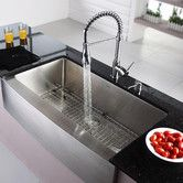 """Found it at Wayfair - 35.9"""" x 20.75"""" Farmhouse Kitchen Sink with Faucet and Soap Dispenser"""