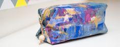 Taschenspieler 4 Sew Along Popup Tasche von Farbenmix aus Jeans mit Acrylfarbe Upcycling
