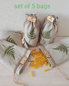 Set of 5 linen bags for cereals. Sustainable bags for cereals. Zero waste food s Cereal Storage, Food Storage, Wooden Tags, Linen Bag, Zero Waste, Hand Embroidery, Sewing Projects, Sewing Tutorials, Etsy