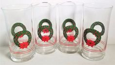 Christmas Wreath & Poinsettia with Holly Leaves Set of 4 Libby Tumbler Glasses