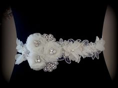 Bridal Sash Belt   Beaded Sash Flower Sash Ivory Sash by TIdesigns