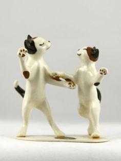 Vintage Hagen Renaker Swing Dancing Jitterbug Cats by Ariamel, $40.00