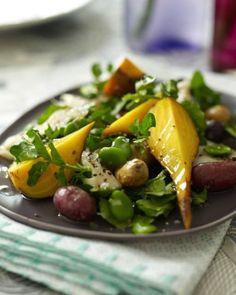 Sweet Paul: Trout, beet and fava bean salad Recipe Bean Salad Recipes, Veggie Recipes, Great Recipes, Favorite Recipes, Healthy Recipes, Sweet Paul, Beet Salad, Arugula Salad, Fava Beans