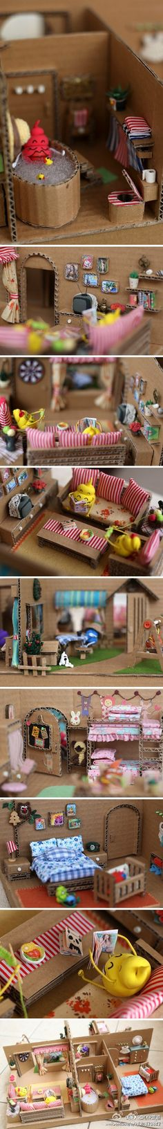 cute cardboard dollhouse!