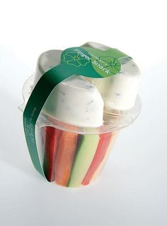 Cool packaging! Vegetables and dip.