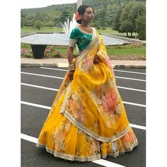Floral Lehenga, Yellow Lehenga, Bridal Lehenga Choli, Lehenga Saree, Sarees, Lehenga Wedding, Indian Gowns Dresses, Indian Fashion Dresses, Indian Designer Outfits