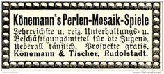 Original-Werbung/ Anzeige 1897 - KÖNEMANN'S PERLEN MOSAIK-SPIELE / KÖNEMANN & TISCHER RUDOLSTADT - ca. 45 x 20 mm