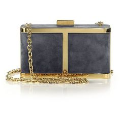 Maiyet Butterfly Suede Box Clutch ($1,095) ❤ liked on Polyvore featuring bags, handbags, clutches, apparel & accessories, navy, chain handle handbags, hard clutch, suede handbags, maiyet and navy blue handbags
