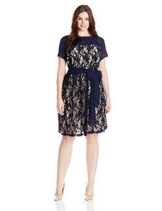 Julian Taylor Women's Plus-Size Cap Sleeve Lace Fit and Flare Dress, Navy/Beige, 16