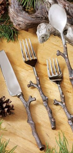 Twig Flatware Set: Handcrafted from stainless steel, the Antique Copper Twig Flatware Set features unique twig-shaped handles made from an iron alloy with an antique copper finish. Vintage Home Decor, Rustic Decor, Diy Home Decor, Camping Dishes, Flatware Set, Rustic Interiors, Rustic Kitchen, A Table, Antique Copper