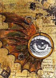ATC i see you - rubber stamps by tim Holtz, creavil, zettiology, paperartsy - by artwolf2009