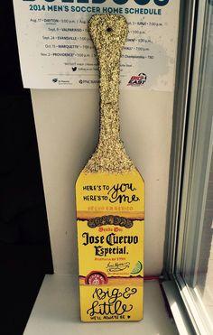 Jose Cuervo Inspired Paddle by ThePatternedPaddle on Etsy Sorority Canvas, Sorority Paddles, Sorority Crafts, Sorority Recruitment, Fraternity Paddles, Sorority Formal, Phi Sigma Sigma, Delta Phi Epsilon, Kappa Alpha Theta