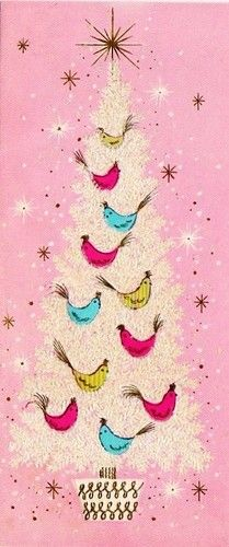 Vintage Christmas card - birds on tree.  Love the pink background!