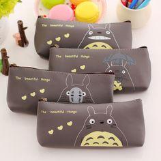Venda quente Kawaii japão TOTORO Pencil Bag alta capacidade de couro PU Unisex zíper lápis sacos Estuches escola estudante Kit BG034