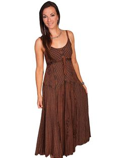 9ff02adf Womens Full Length Copper Two-Toned Western Spaghetti Dress, Scully Womens  Full Length Mult