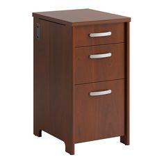 """Bush® Envoy 3-Drawer Pedestal File, 30 1/4""""H x 16""""W x 20""""D, Hansen Cherry"""