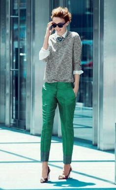 Calça verde! Desde looks mais casuais até produções chiques e apropriadas pro trabalho!
