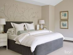 Transitional Neutral Bedroom with Botanical-Design Wall
