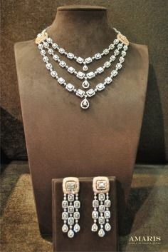 Amaris Jewels , Prerna Rajpal , Necklace , layered , three string , string , Diamond , earring , chandelier , Reception , Wedding , Bridal , bridal Jewellery