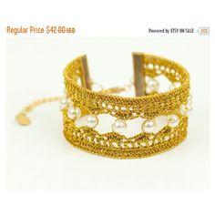 50% OFF Bracelet-Luxury Handmade Crochet Pearl Beaded... ($21) ❤ liked on Polyvore featuring jewelry, bracelets, christmas jewelry, boho bangles, pearl jewellery, hand made beaded jewelry and holiday jewelry