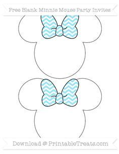 Pastel Aqua Blue Chevron  Blank Minnie Mouse Party Invites