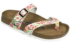 Papillio Tabora Soft Footbed Springflower White Birko-Flor If your feet tend to be sensitive, this style will give you comfort right out of the box. Made with and extra layer of foam in the footbed, it cushions your feet, and the contoured cork footbed provides wonderful arch support. Resoleable. #birkenstock #birkenstockexpress.com  $109