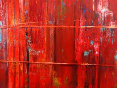 """Francisco Zañartu C. """"Abstracción en turquesa y rojos"""" óleo sobre lino. 300 x 200 cm. año 2012.-"""
