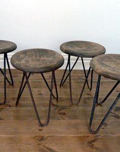 Vintage Belgian Industrial Stools.