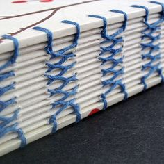 """https://flic.kr/p/5HLwrg   Closeup of the french link stitching pattern   This icy white journal has some interesting stitching - I'd seen some """"French"""" stitching for regular hardbound books and thought it would be really nice to have it visible on the outside of the spine. Attaching the covers was the trickiest part because I didn't want to disrupt the crossed stitch ladder effect on the spine.    Blog   Twitter   Pinterest   Instagram"""