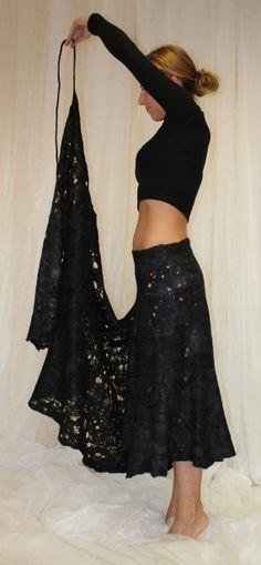Black cobweb felted skirt BLACK SWAN by doseth on Etsy, €119.00