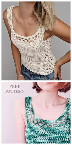 Crochet clothes 516295544780667846 - Summer Aestas Top Free Crochet Pattern Source by Blouse Au Crochet, Débardeurs Au Crochet, Mode Crochet, Crochet Shirt, Crochet Woman, Crochet Basics, Easy Crochet, Crochet Tank Tops, Crochet Sweaters