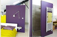 decoration chambre loft couleur violet et vert anis