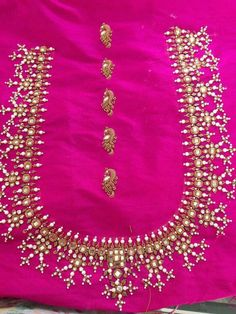 Blouse Design #36 Aari Embroidery, Hand Embroidery Designs, Embroidery Dress, Embroidered Blouse, Fancy Blouse Designs, Blouse Neck Designs, Blouse Desings, Mirror Work Blouse, Aari Work Blouse