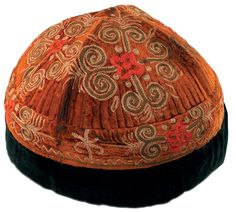 old uzbek hat, silk embroidery, Central Asian ethnic textiles.