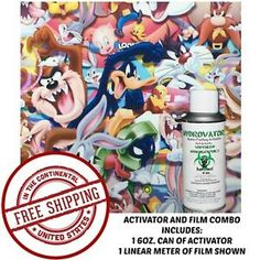 HYDROGRAPHIC-FILM-WATER-TRANSFER-HYDRO-DIP-6OZ-ACTIVATOR-WITH-LOONEY-TOONY-KIT