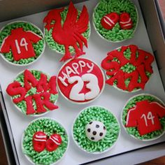 reminds me of my birthday cupcakes. Liverpool Football Club, Liverpool Fc, Birthday Cupcakes, Themed Cakes, Cupcake Cakes, Cookies, Baking, Desserts, Inspiration